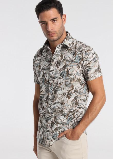 Camisa Manga Corta Lino Estampada