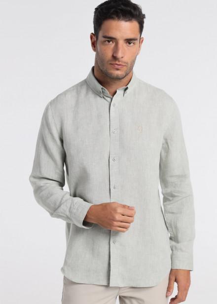 Camisa de lino manga larga verde