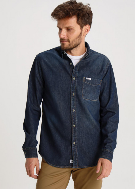 Camisa Denim Bolsillo Dark Blue