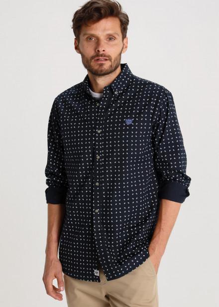 Camisa Mini Print Con Bordado